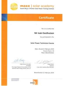 Izak Oosthuizen - Solar Power Technician Certificate